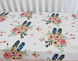Sahaler Baby Floral Fitted Crib Sheet for Boy and Girl Toddler Bed Mattresses fits Standard Crib Mattress 28x52 (Aqua Floral)