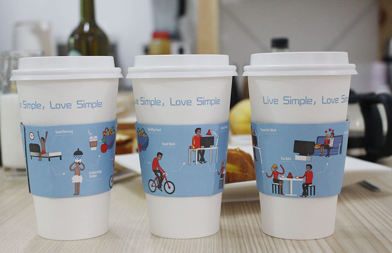 paquete de 50 quacity caliente vasos de papel de caf/é con tapa de viaje y protecci/ón mangas