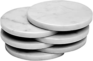 Set of 6 - White Marble Stone Coasters – Polished Coasters – 3.5 Inches (9 cm) in Diameter – Protection from Drink Rings -CraftsOfEgypt