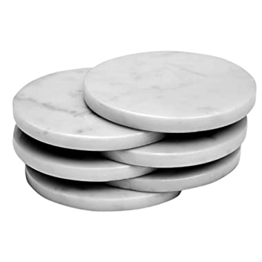 CraftsOfEgypt Set of 4 - White Marble Stone Coasters – Polished Coasters – 3.5 Inches (9 cm) in Diameter – Protection from Drink Rings