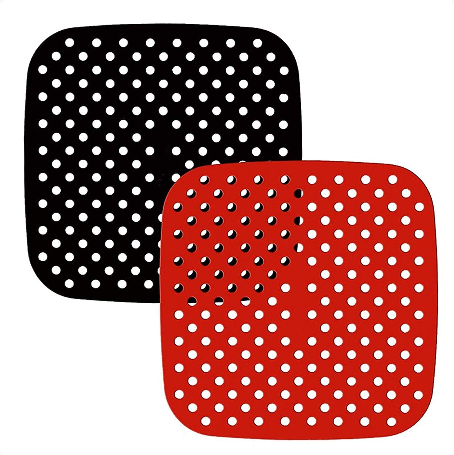 Reusable air fryer liner silicone, 8.5 inch square non-stick basket mat accessories, | air fryer accessories for 5.8 quarts and larger air fryer, substitute for parchment paper-(2 packs)
