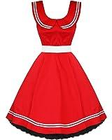 50's Sailor Collar Nautical Dress Red