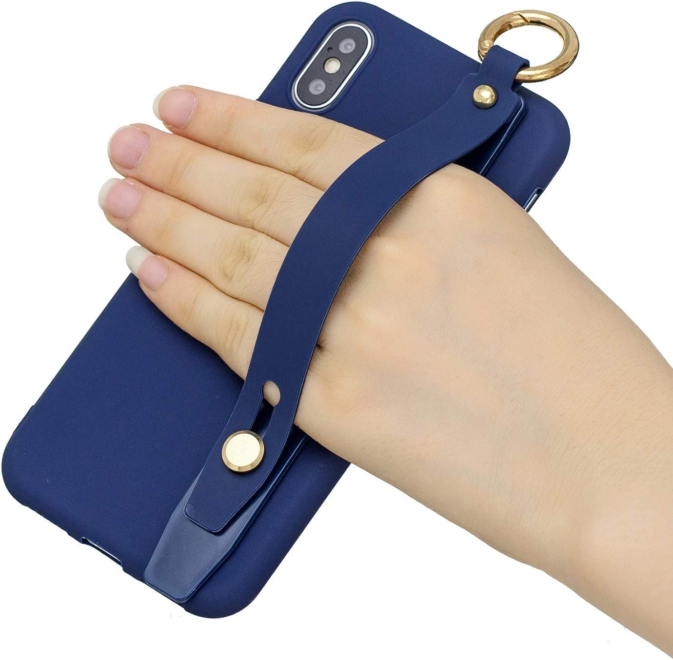 Dark Blue Amocase Soft Silicone Case with 2 in 1 Stylus for Samsung Galaxy S10 5G,Cute Sweet Candy Color Wrist Strap Stand Shockproof Anti-Scratch Flexible Case