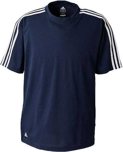 Adidas ClimaLite - Camiseta de golf para hombre (3 rayas), color azul marino y blanco