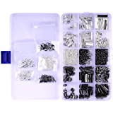 A BOX 2 COLOR 5 SIZE Ribbon Bracelet Bookmark Pinch Crimp Clamp End Findings Cord Ends Leather Crimp Ends Drop End Open Jump Rings Lobster Claw Clasps Jewelry Making Findings (BLACK & SILVER)