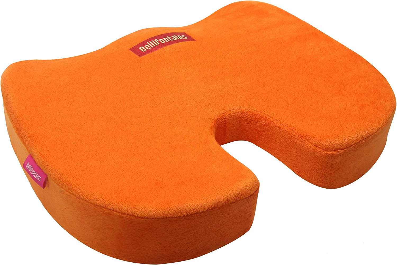 Bellifontains Coccyx Orthopedic Memory Foam Seat Cushion for Office Chairs and Car-Relieve Sciatica, Back Tailbone Pain 2 Covers, Orange Gray