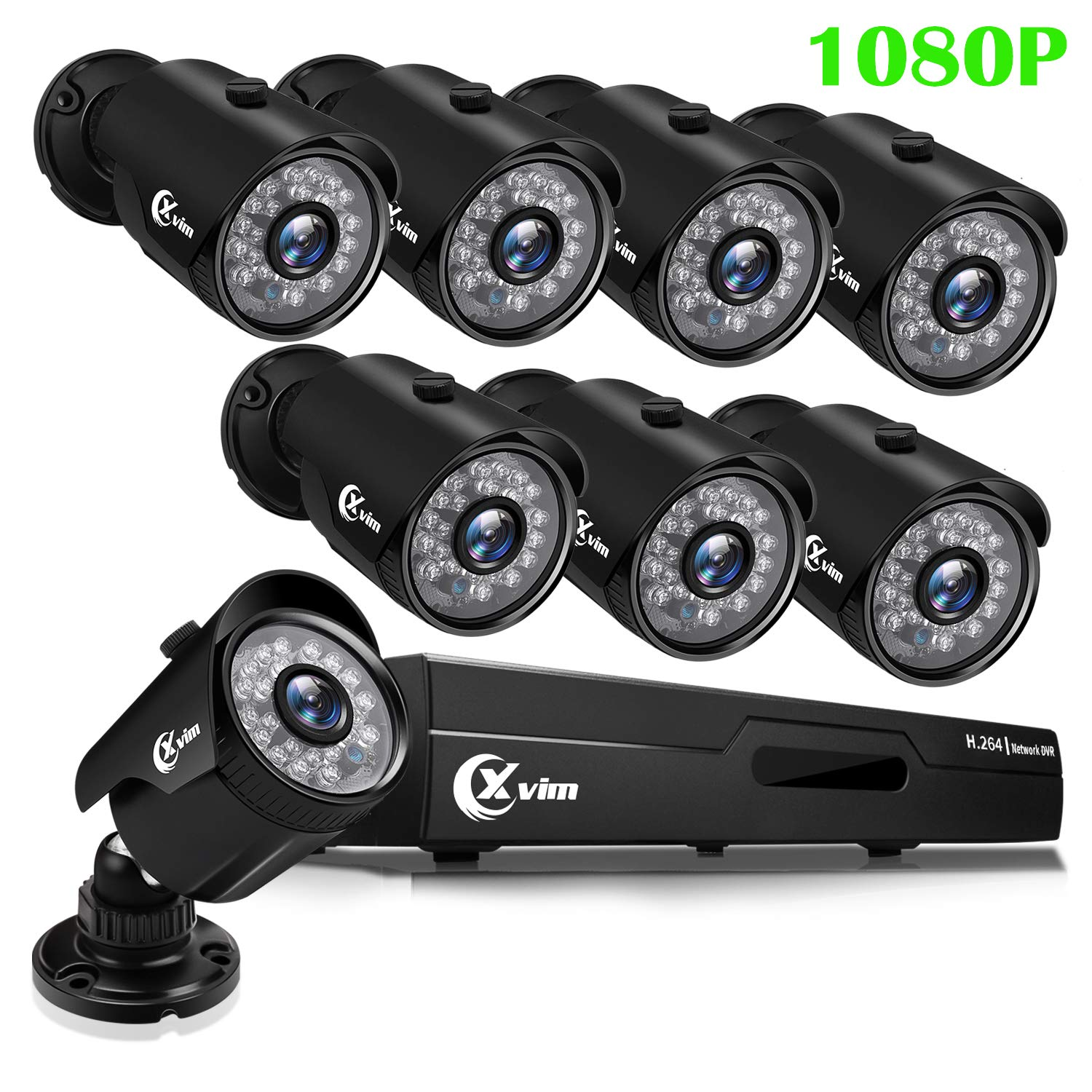 XVIM 1080P H.264 Home Wired Security Cameras System, 8CH 1080P HD DVR 8pcs 1080P 1920TVL Outdoor Indoor Waterproof Surveillance Cameras with Live Viewing 85FT Night Vision(No HDD) by X-VIM