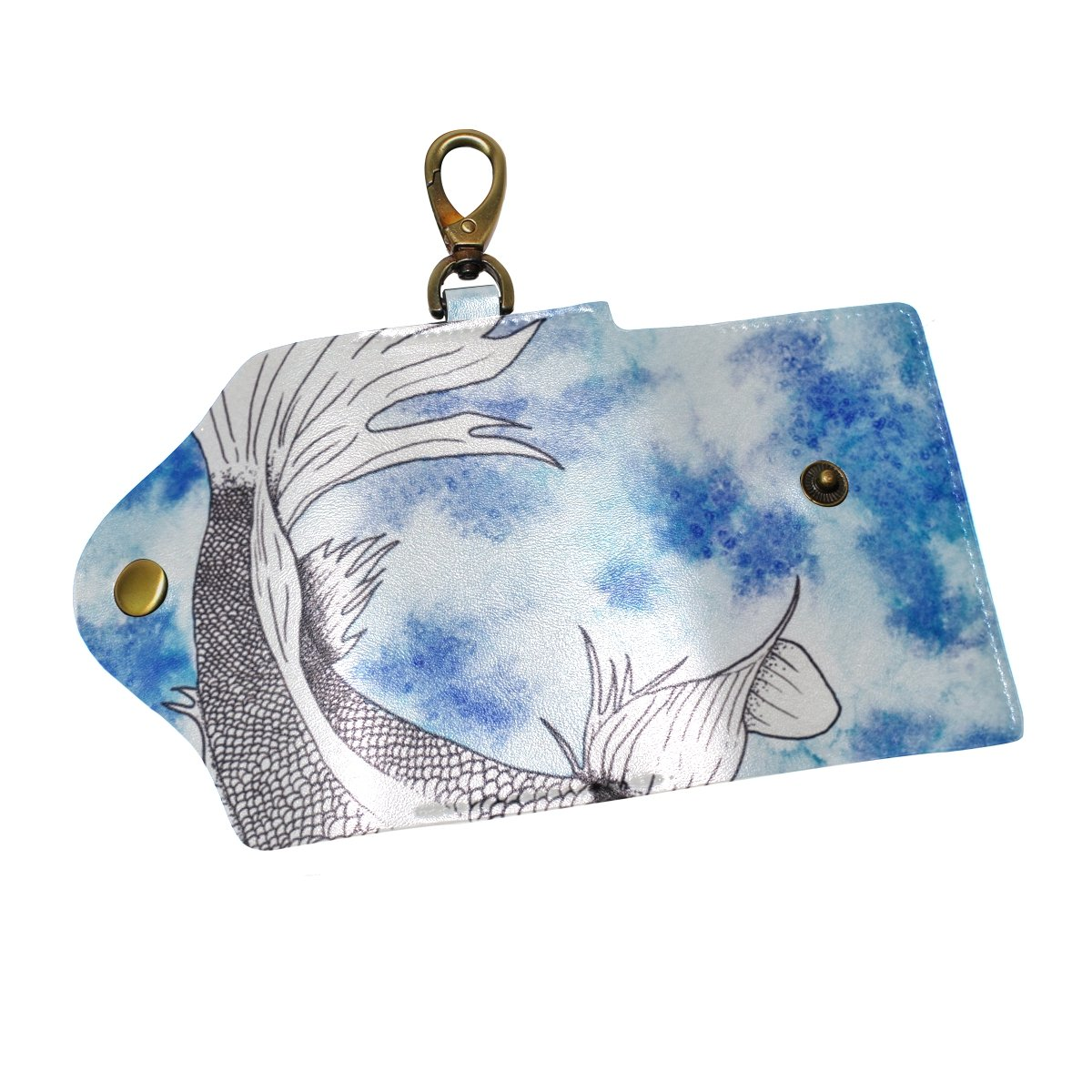 DEYYA Animal Fish Carp Koi Leather Key Case Wallets Unisex Keychain Key Holder with 6 Hooks Snap Closure