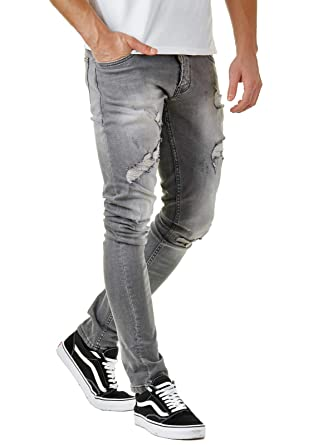 beispiellos baby 2019 am besten verkaufen EightyFive Herren Destroyed Jeans Grau Slim Fit Zerrissen Premium Denim  EFJ3230