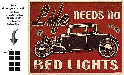 Amazoncom Shop72 Life Needs No Red Light Tin Sign Retro Vintage