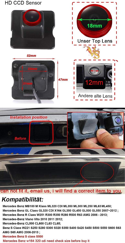 720Pixels Auto Nachtsicht R/ückfahrkamera Einparkkamera Kamera Einparkhilfe Wasserdicht f/ür Mercedes Benz ML GL R Class ML320 350 300 250 450 W164 GL350 450 500 550 R300 350 280 500 R63 W221 1280