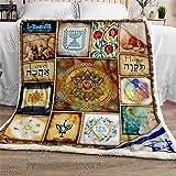 Messianic Seal Sherpa Blanket, Blanketed for Jewish P657, Adult Fleece Throw Blankets Bedding Blanket Reversible All Season U