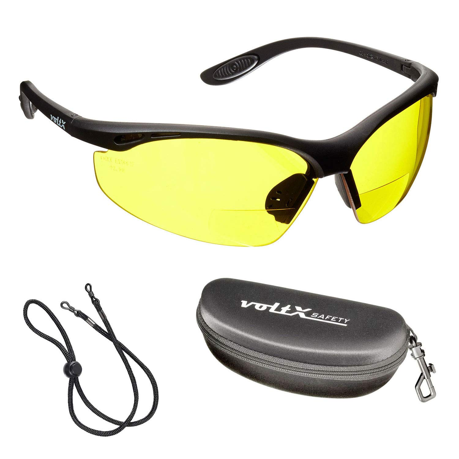 voltX 'CONSTRUCTOR' BIFOCAL Reading Safety Glasses (YELLOW +1.5 Dioptre) CE EN166F certified/Cycling Sports Glasses includes safety cord + Rigid Clamshell Safety Case StraightLines Others