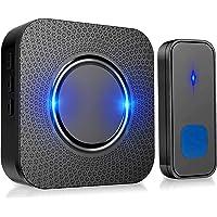 PewinGo Draadloze deurbel, IP55 waterdicht, draadloos, draagbaar, 300 m bereik, 110 dB, 55 beltonen, 5 volumeniveaus…