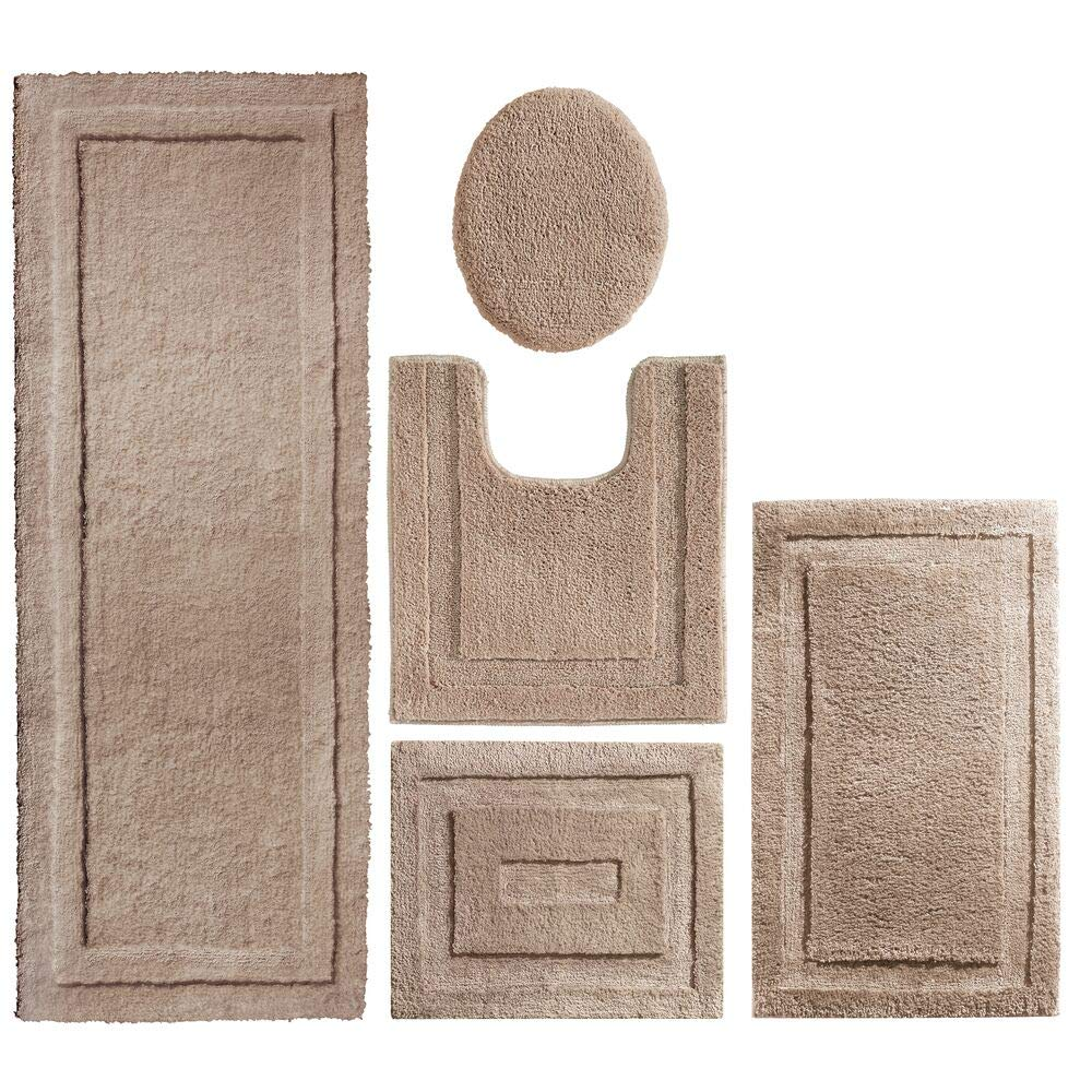 mDesign Soft Microfiber Polyester Bathroom Spa Rug Set - Water Absorbent, Machine Washable, Plush, Non-Slip - Includes 3 Rectangular Accent Rugs, Contour Mat, Toilet Lid Cover - Set of 5 - Linen/Tan