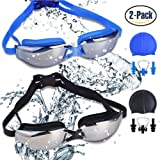 RIHACHAN Swim Goggles, Swimming Goggles Leak Free UV Protection Anti Fog, Swimming Glasses with Adjustable Shoulder Strap for Unisex Adult –Teenagers, with Swimming Caps, Nose Clips, Ear Plugs-2 pack