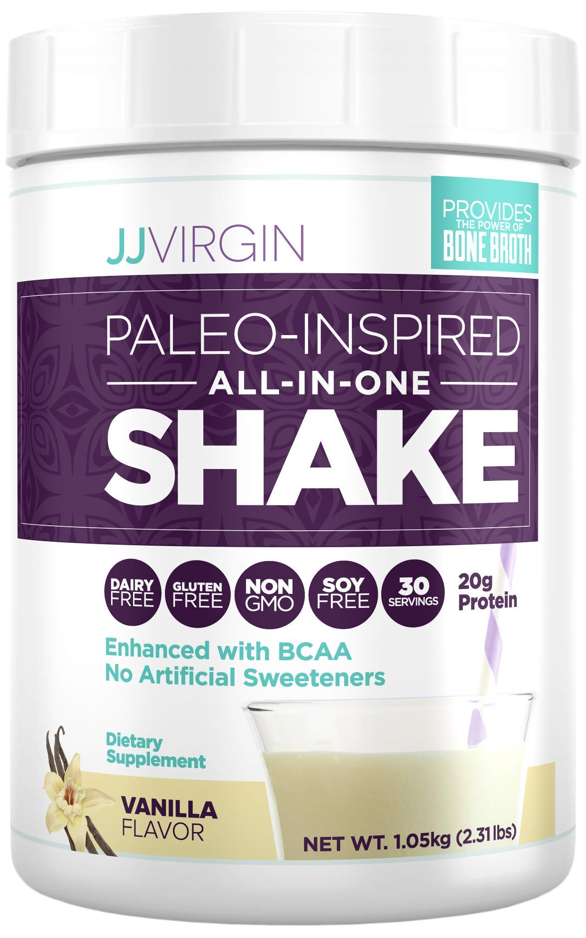 JJ Virgin Vanilla Paleo-Inspired All-in-One Shake - Paleo + Keto-Friendly Protein Powder (30 Servings, 2.31 Pounds) by The Virgin Diet