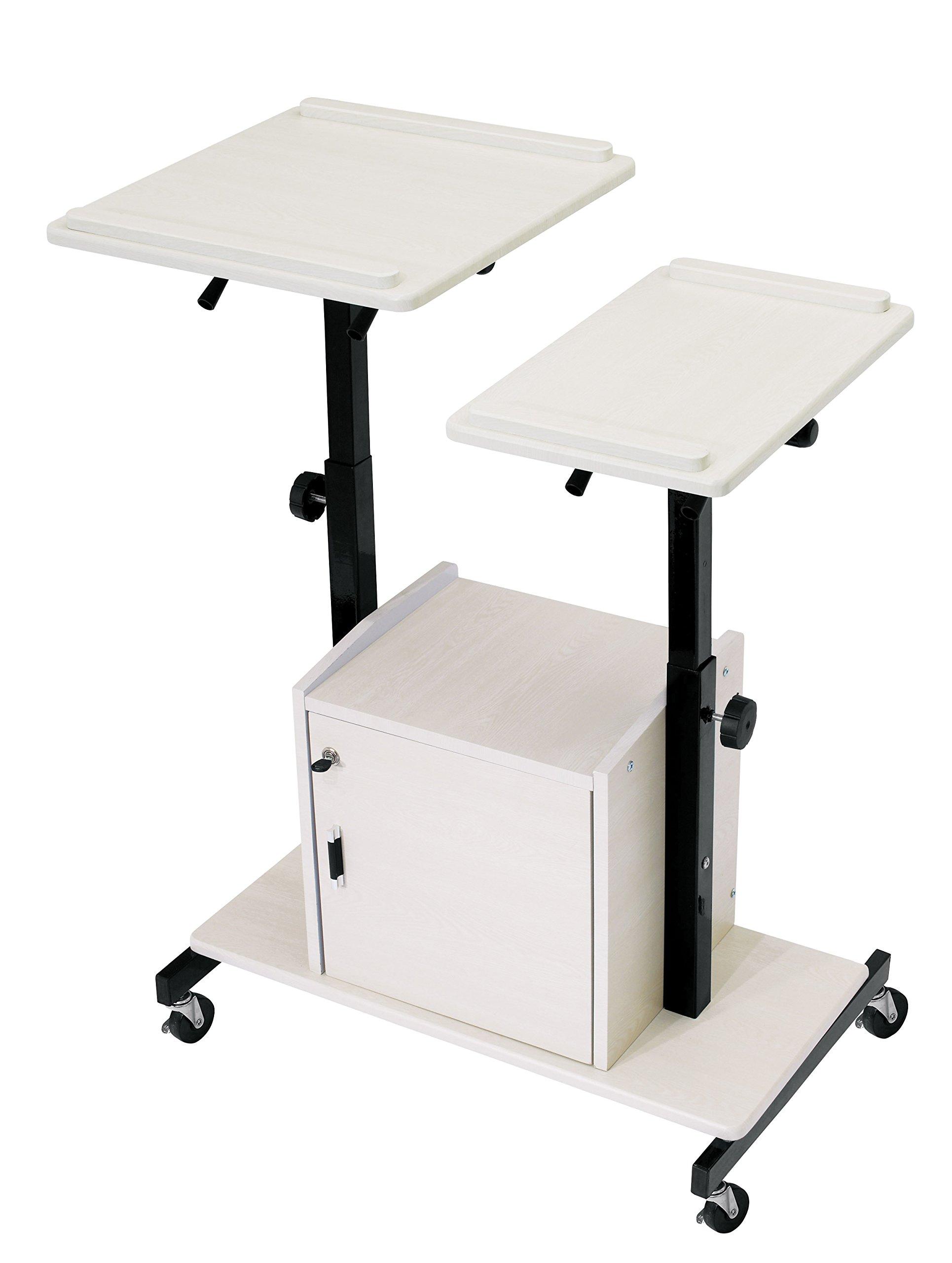 Oklahoma Sound PRC300 Steel Deluxe Presentation Cart, 32'' Width x 44'' Height x 24'' Depth, Ivory Woodgrain/Black