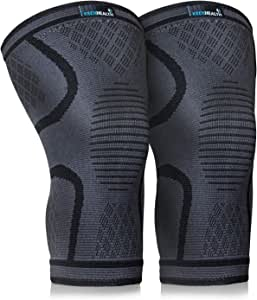 Keenhealth Compression Knee Brace - Knee Sleeve Pain Relief - for Arthritis, ACL and MCL - Support for Gym, Running, Working Out and Sports - for Men and Women (Black, L)
