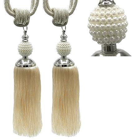 1 Pair Crystal Tassel Beaded Tie Backs Curtain Rope Tieback HoldBacks 8 Colors