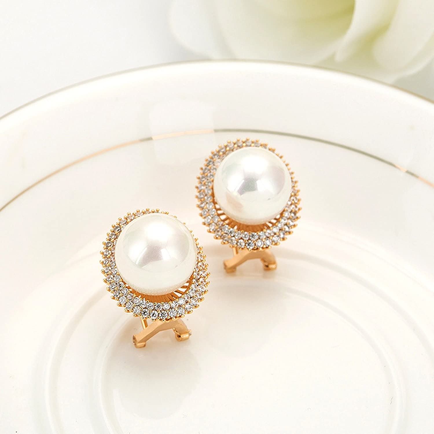Beydodo Rose Gold Stud Earrings Bridesmaids Wedding Earring for Brides Pearl Halo Round White Rhinestone