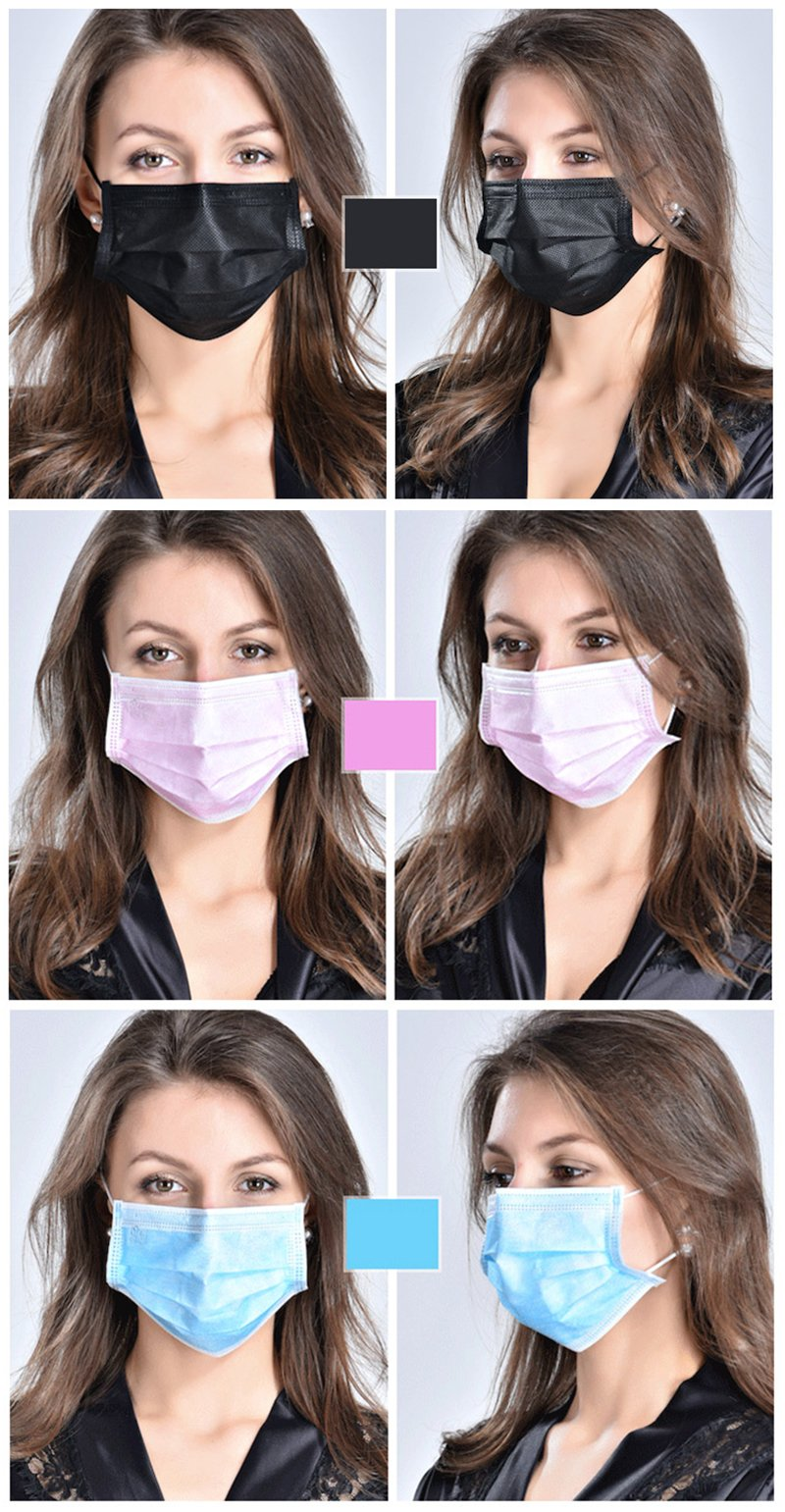 Bigmai 10pcs/Pack Durable Solid Color Unisex Nonwovens Cloth Mouth Mask Disposable Surgical Face Salon Ear Loop Style Medical Mouth Flu Mask Fog-proof Dust-proof
