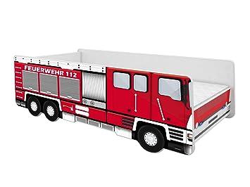 Acma Kinderbett Auto Bett Feuerwehr Mit Rausfallschutz Lattenrost Und Matratze 140x70