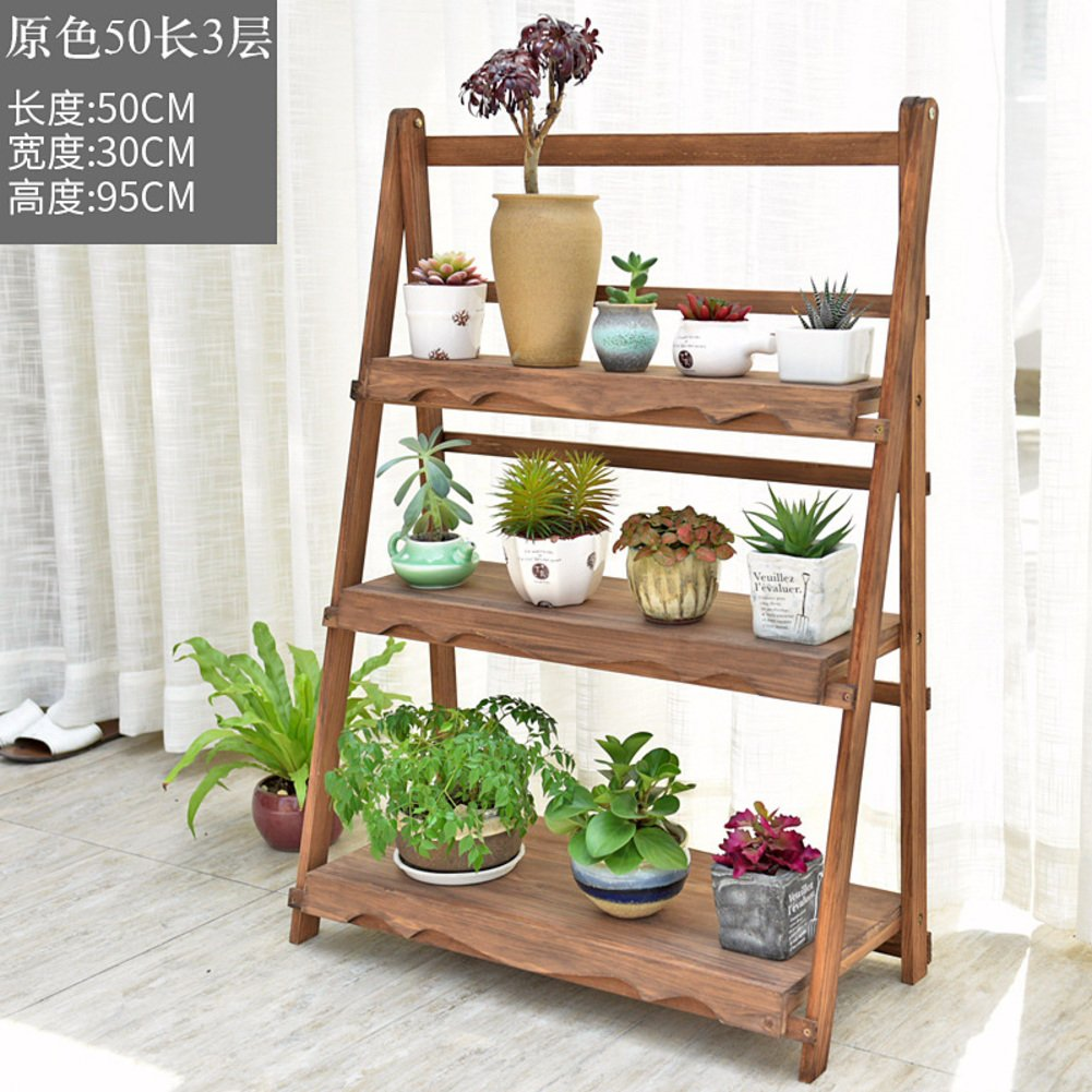 Solid wood flower shelf multi-storey flower rack indoor and outdoor flower racks-C by Flower racks