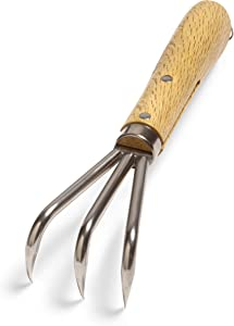 """Nisaku NJP957 Handheld Triple Claw Cultivator, Authentic Tomita (Est. 1960) Japanese Stainless Steel, Tine Length 1.5"""", Polished Wood Handle"""