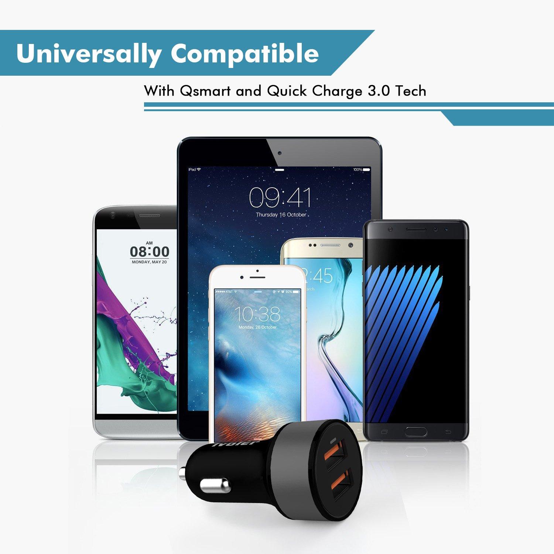 2X QC 3.0 Porte Nero Huawei 1m Xiaomi iVoler Due Quick Charge 3.0 36W 2 Porte Caricatore USB da Auto etc. per Samsung Galaxy con Cavo 2 in 1 Type C e Micro USB Cavo Ricarica