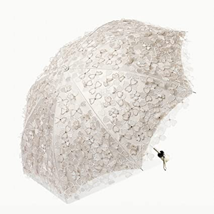 Paraguas Flores de bordado de encaje, sol, Protección solar Anti-UV, princesa