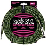 """Ernie Ball Instrument Cable, 1/4"""" Right Angle, Neon Green/Black, 10 ft. (P06077)"""