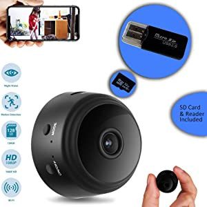CROMINA Mini Camera Wireless Home Apartment office Nanny Cam Cars Indoor Outdoor WiFi Security Surveillance 1080P Night Vision Motion Detection Live Streaming iPhone/Android Phone audio Video Recorder