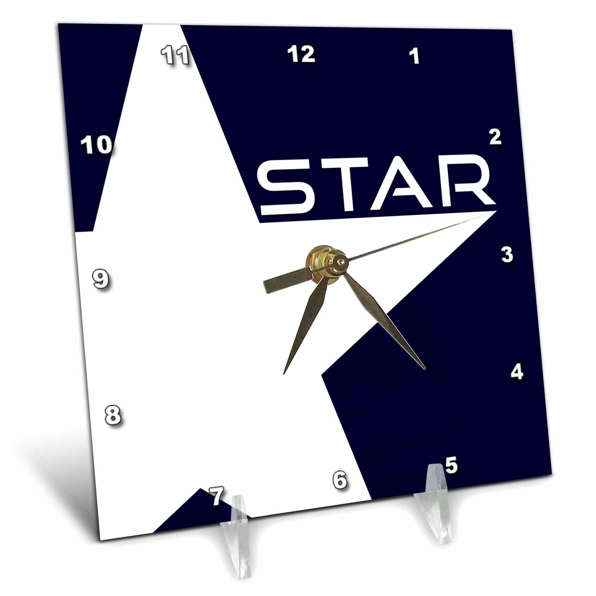 3dRose Alexis Design - America - White Star on deep blue background. Text STAR - 6x6 Desk Clock (dc_272415_1)