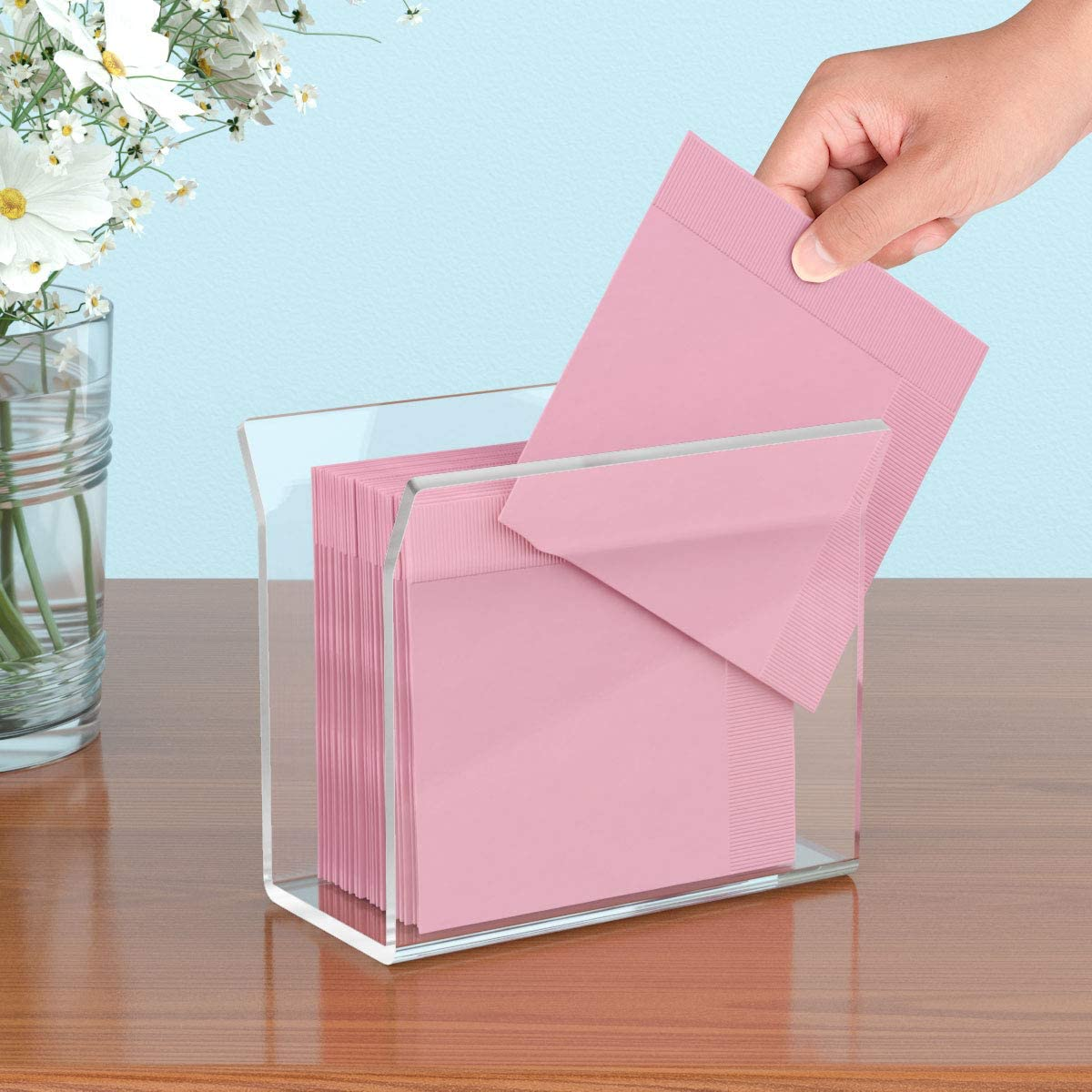 NIUBEE Acrylic Cocktail Napkin Holder 2Pack Clear Decorative Beverage Napkin Stand for Kitchen Dining Wedding Table U Shape Vertical Display