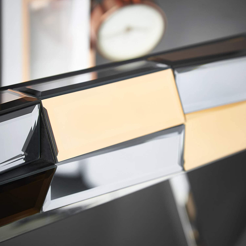 color oro rosa Consola con espejo 3D Carme Knightsbridge efecto cristal patas cromadas
