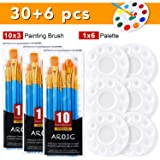 AROIC Acrylic Painting Set, 3 Bags of 30 Brushes and 6 Plates, Nylon Brush Head, Suitable for Oil Painting, Watercolor Painti