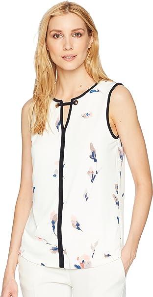 a3ce4bd3f1e61f Ivanka Trump Women's Matte Jersey Contrast Piping Sleeveless Printed Top  Ivory/Blush X-Large