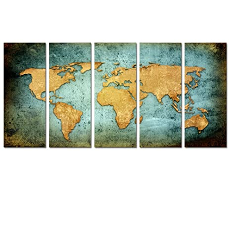 Amazon visual art decor retro world map poster giclee canvas visual art decor retro world map poster giclee canvas prints vintage abstract world map painting printed sciox Images