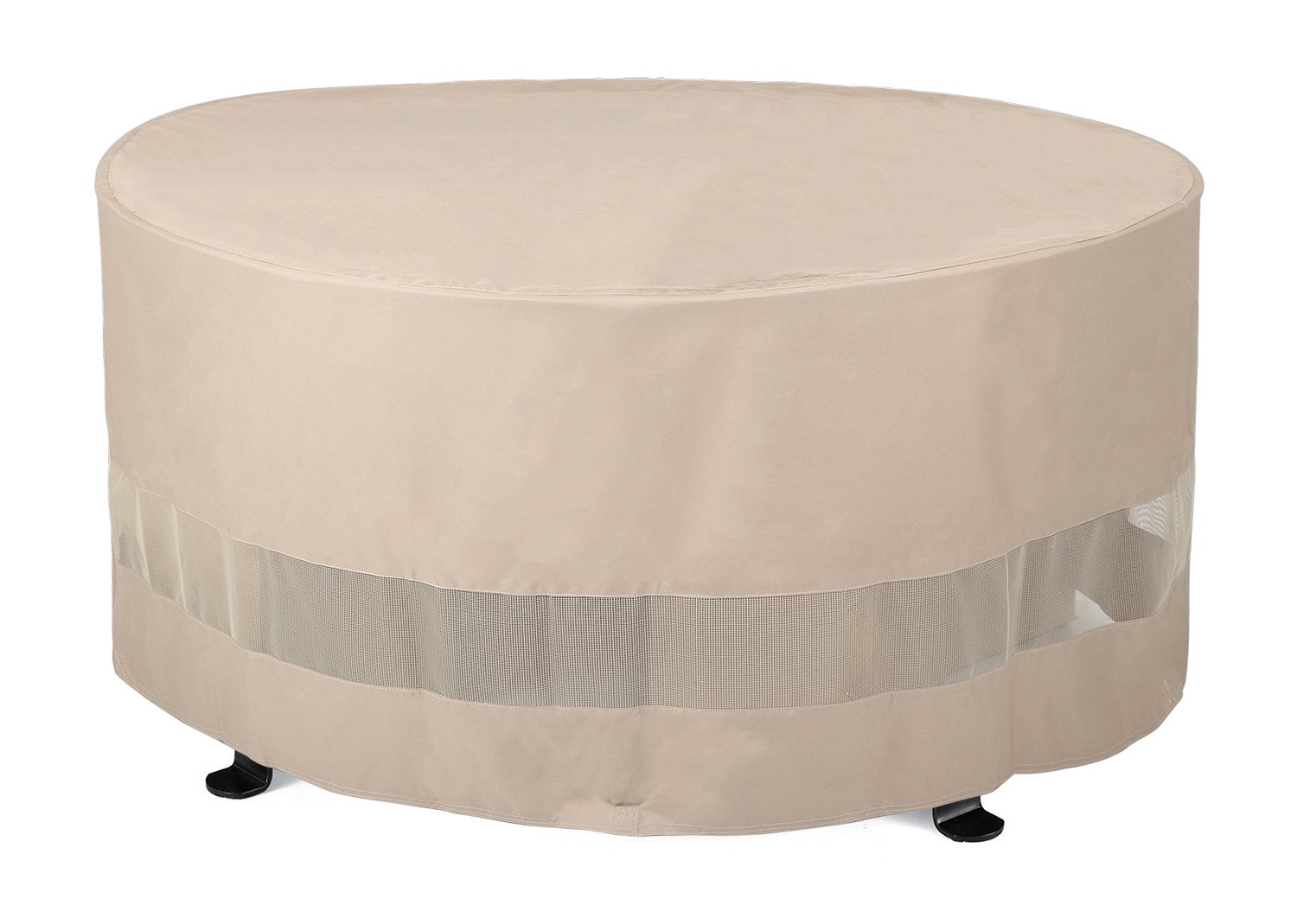SunPatio Outdoor Round Fire Pit or Ottoman Cover,50''Diax24''H,Extremely Lightweight,Water Resistant,Eco-Friendly,Helpful Air Vents
