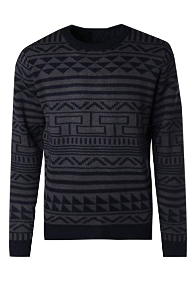 Boohoo Mens Fairisle Knitted Jumper at Amazon Men's Clothing store: