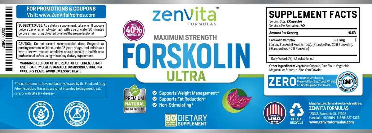 Pure Forskolin Extract 600mg 90 Capsules w/ 40% Standardized Forskolin, Non GMO & Gluten Free, Keto Diet Pills, Carb Blocker, Weight Loss Supplement for Men and Women