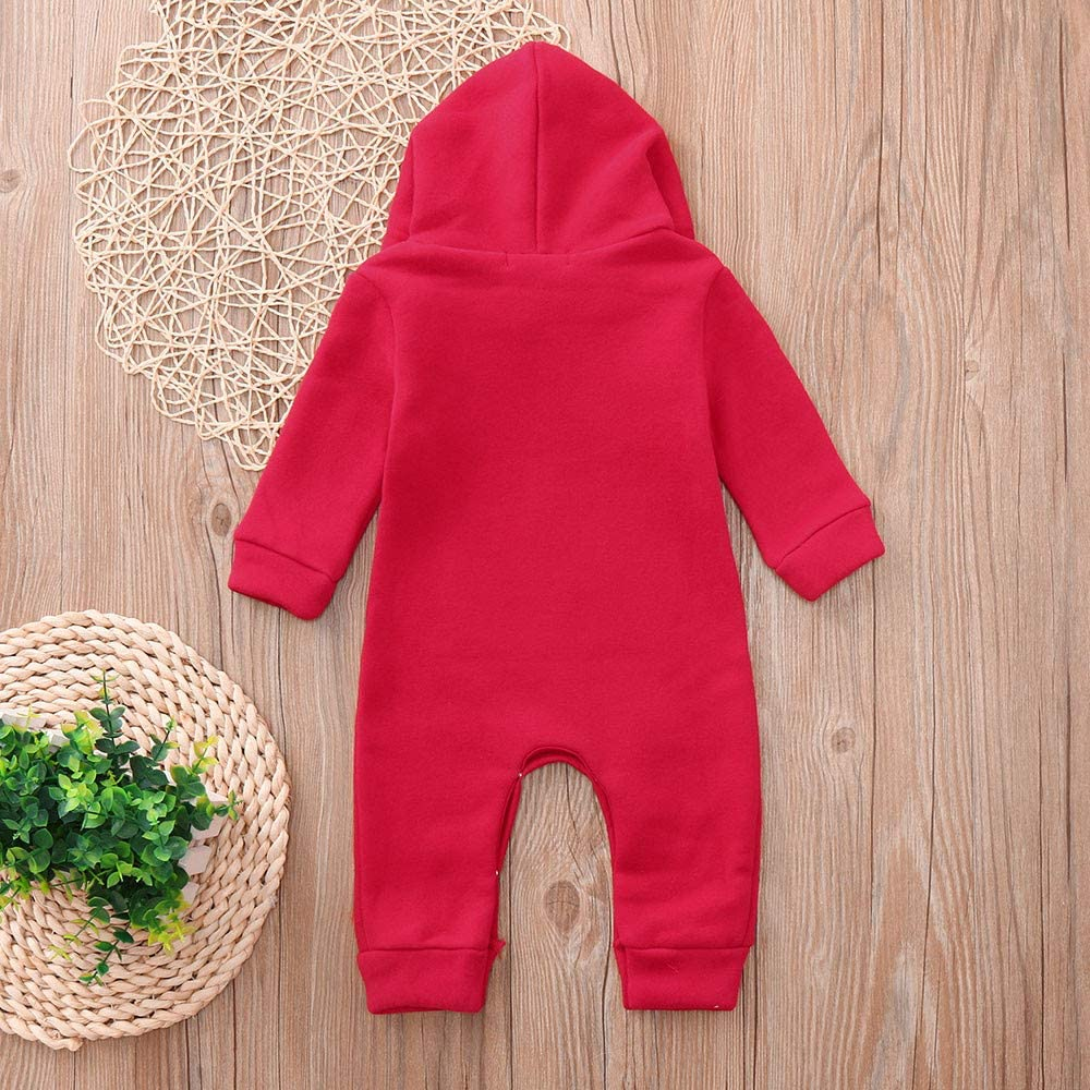 KONFA Toddler Newborn Baby Boys Girls Christmas Cartoon Deer Rompers,Kids Sleep and Play Jumpsuit Xmas Clothing Set