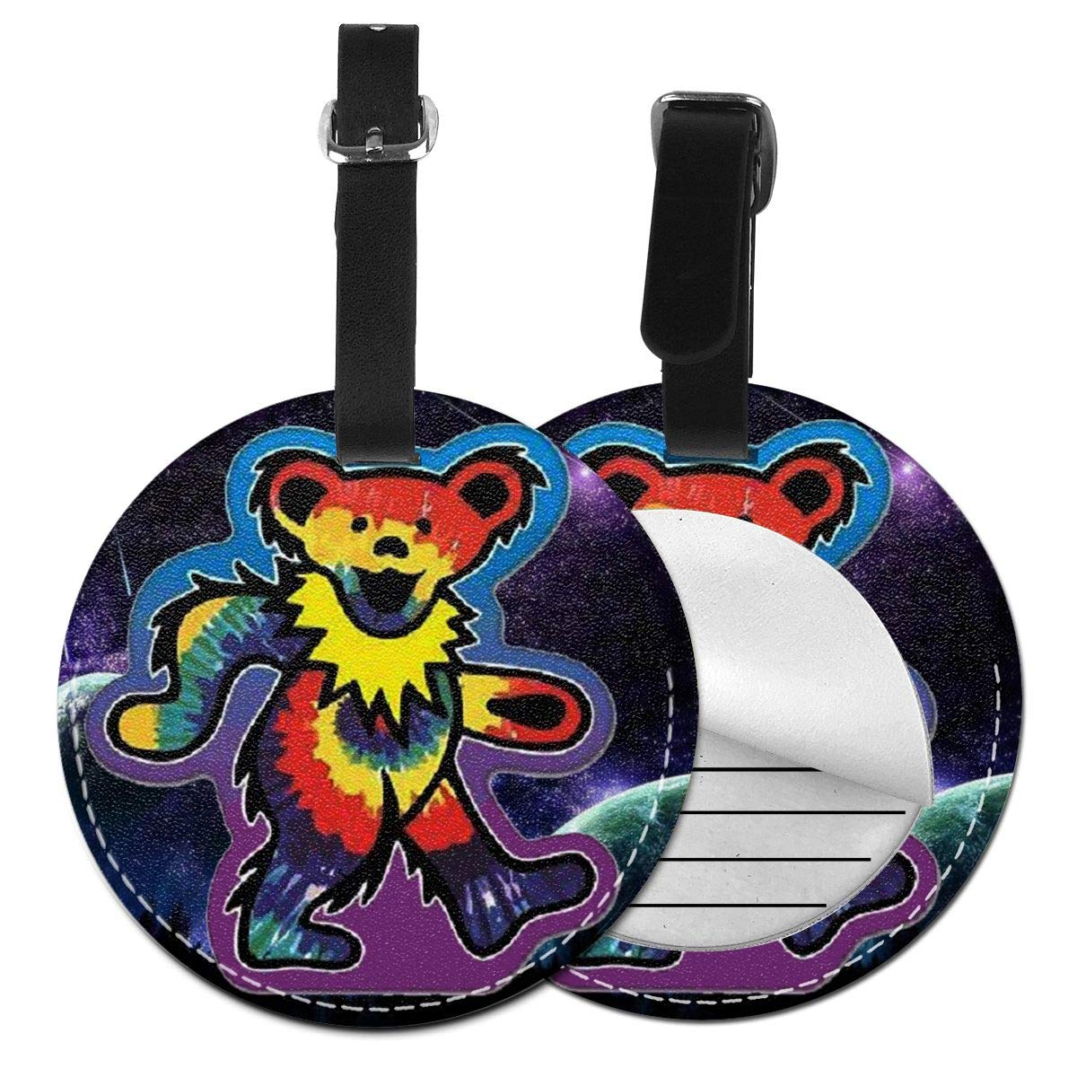 Free-2 Tie Dye Dancing Bear Luggage Tag 3D Print Leather Travel Bag ID Card
