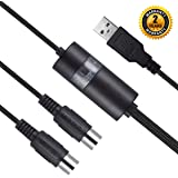 USB MIDI Cable Interface, Upgrade Professional MIDI to USB IN-OUT Cable Converter For PC/Mac/Laptop 2M(6.5FT) (BLACK)(PLS STE
