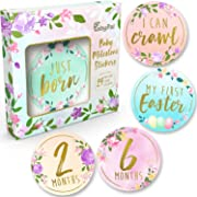 Baby Monthly Milestone Stickers - (Set of 24) Premium Metallic Gold Floral Month Stickers for Newborn Girl First Year - Best Baby Shower Registry Gift or Scrapbook Photo Memory Keepsake
