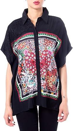 Desigual Camisas de Manga Corta Mujer Medium Negro: Amazon.es: Ropa y accesorios