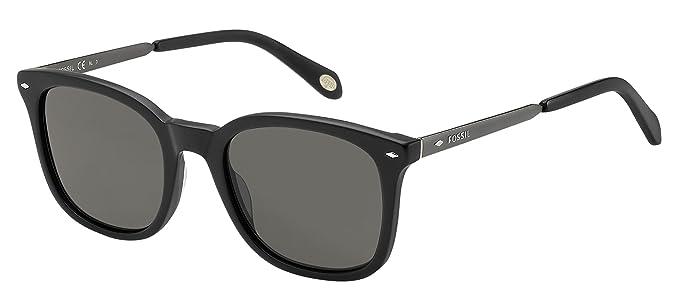 33c51bb7a6 Amazon.com  Fossil Fos2054s Square Sunglasses BLACK DARK RUTHENIUM ...