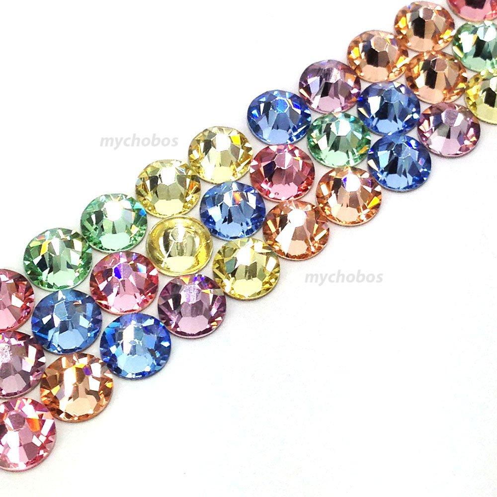 144 pcs (1 gross) Swarovski 2058 Xilion / 2088 Xirius Rose crystal flat backs No-Hotfix rhinestones nail art BABY Colors Mix ss20 (4.7mm) **FREE Shipping from Mychobos (Crystal-Wholesale)** 2058 / 2088