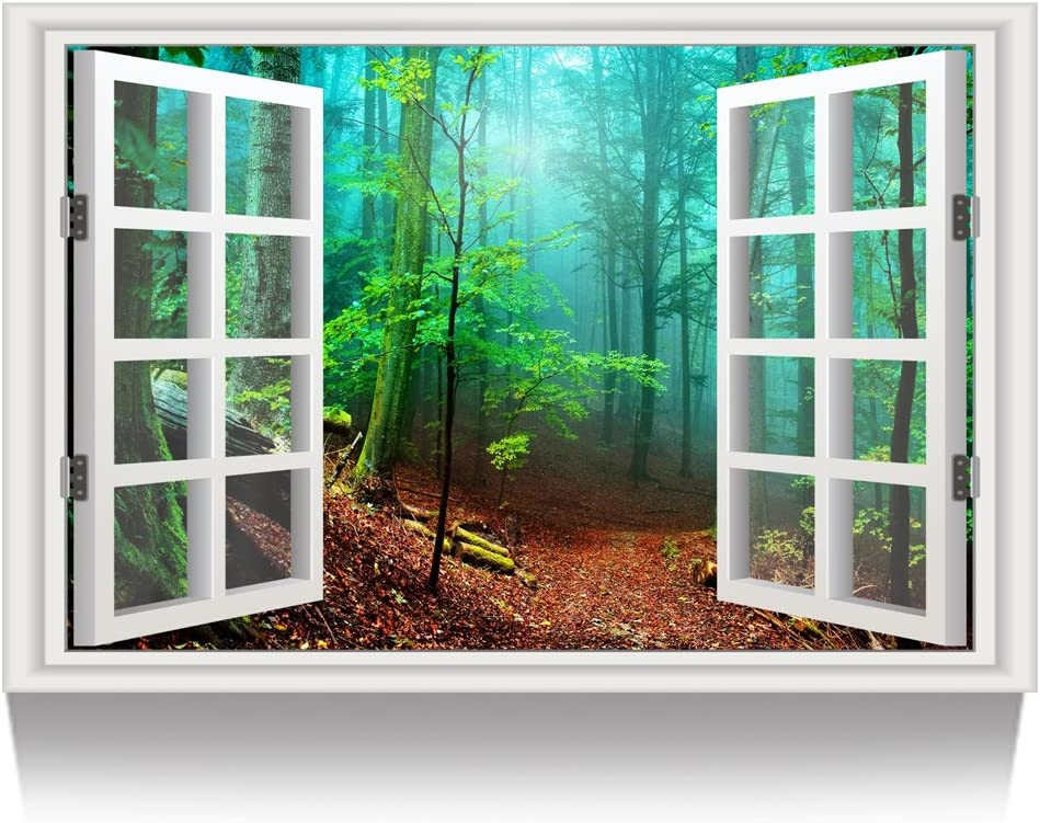 Kreative Arts - Canvas Print Wall Art Window Frame Style Green Forest Landscape Picture Wall Decor Stretched Giclee Print Gallery Wrap Modern for Home Decor (24''x36'', 27.Forest Fog)